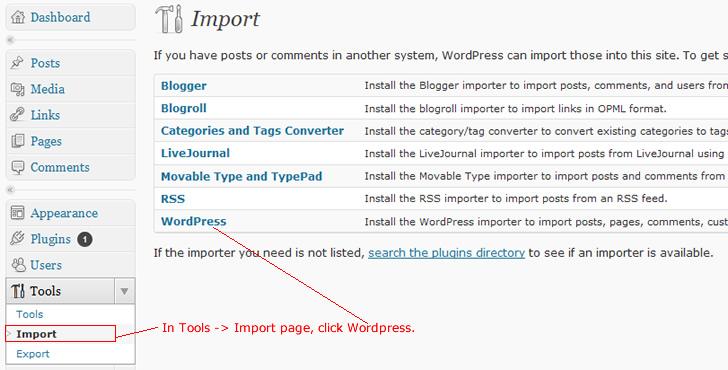 import sample database into wordpress