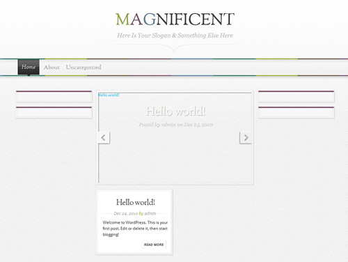 magnificent wordpress theme activated