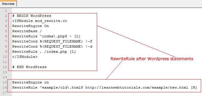 rewriterule after wordpress statements