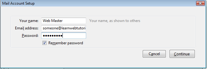 Thunderbird name, email, password prompt