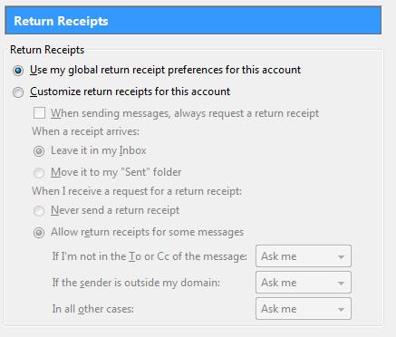 thunderbird return receipt settings
