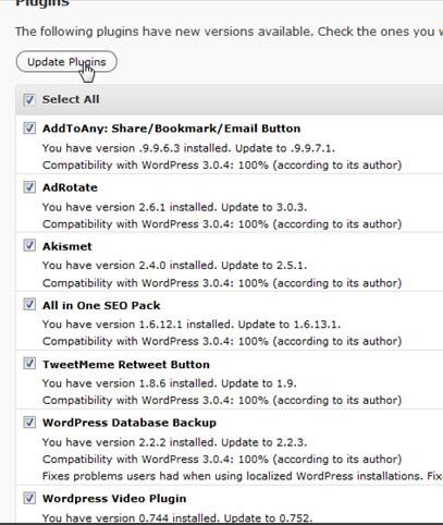 update all wordpress plugins