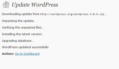 Wordpress updated successfully