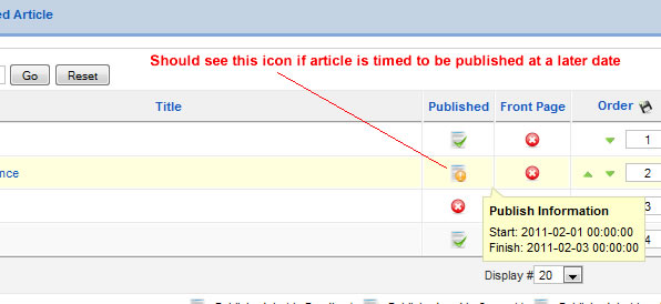 Delayed publishing in Joomla