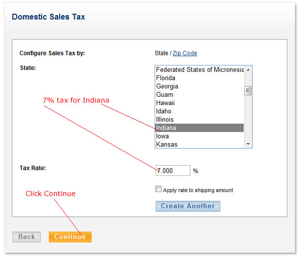 configure domestic sales tax