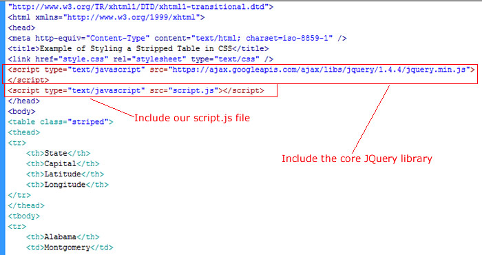include our script and JQuery library