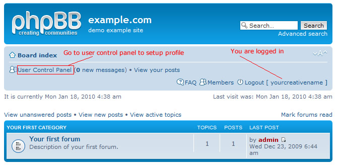 link to web forum user controlpanel
