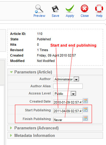 Set start and end publishing dates in Joomla