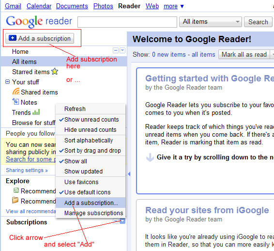 Add Subscription to Google Reader