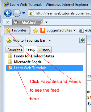 Feed in favorites in Internet Explorer