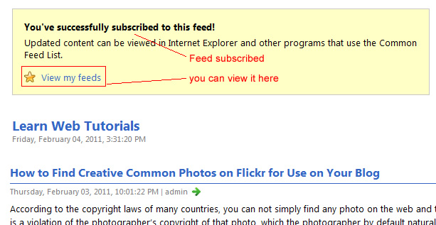 Feed subscribed in Internet Explorer