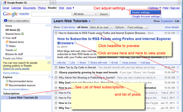 See RSS feeds in Google Reader