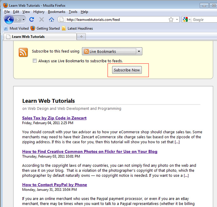 Live Bookmarks on Firefox