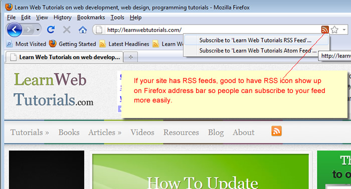 RSS icon in Firefox address bar