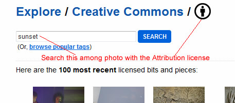 search attribution license on Flickr