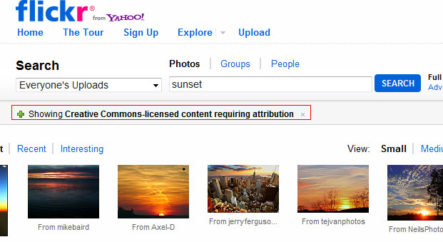 Showing Creative Commons photos