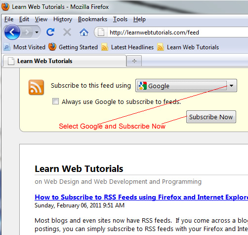 subscribe in Google using Firefox