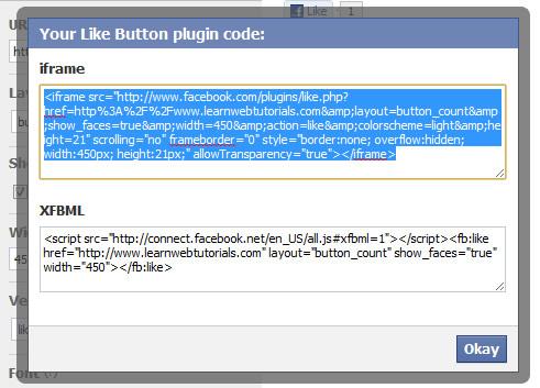 Copy iframe Facebook code