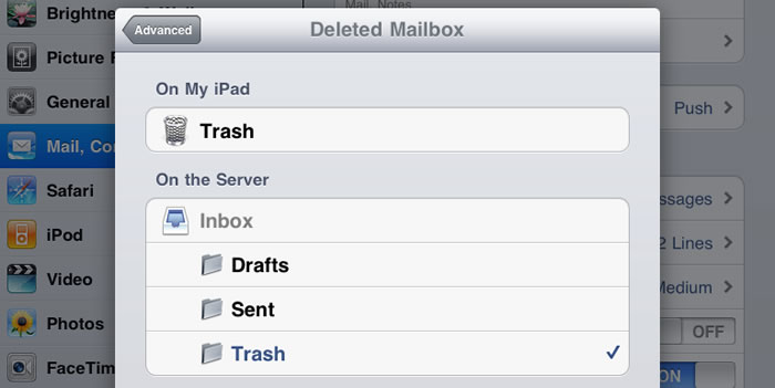 click deleted mailbox