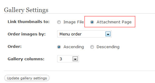 attachment page option