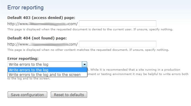 Drupal error reporting