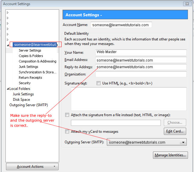 imap account settings