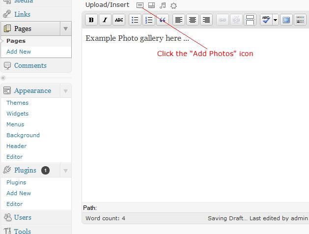 wordpress add photo icon