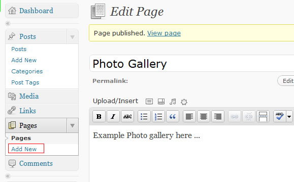 create new page in wordpress