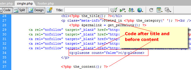 Google plus code on page