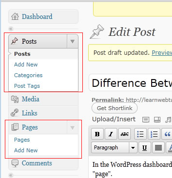 Creating a post or page in WordPress