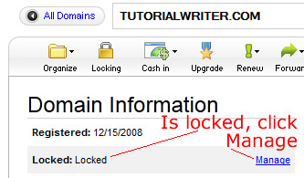 domain name is locked