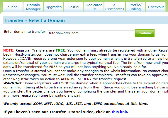 domain name to be transferred