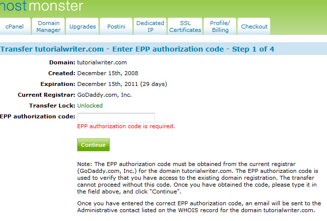 Enter EPP Code
