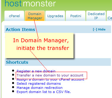 initiate transfer in domain manager