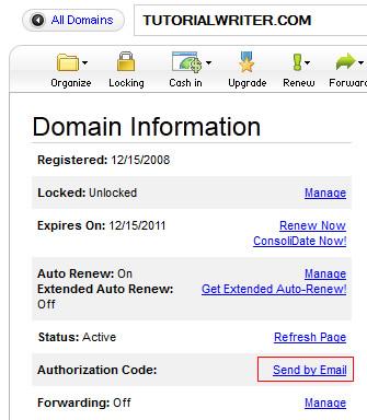 send EPP code