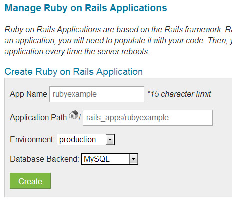 Manage Ruby on Rails in CPanel