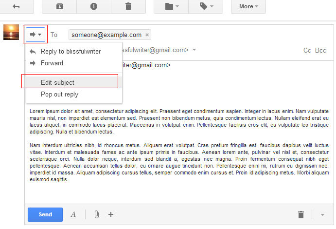 edit subject line in gmail
