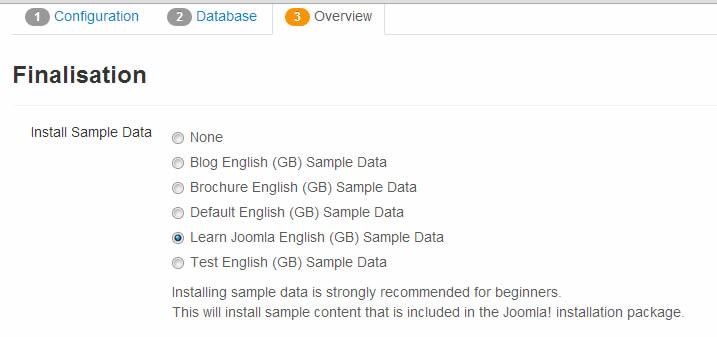 Install sample joomla data