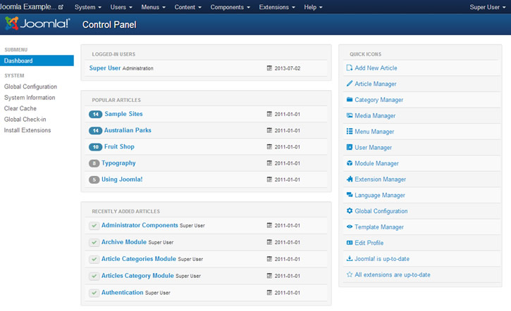 Joomla Admin Control Panel