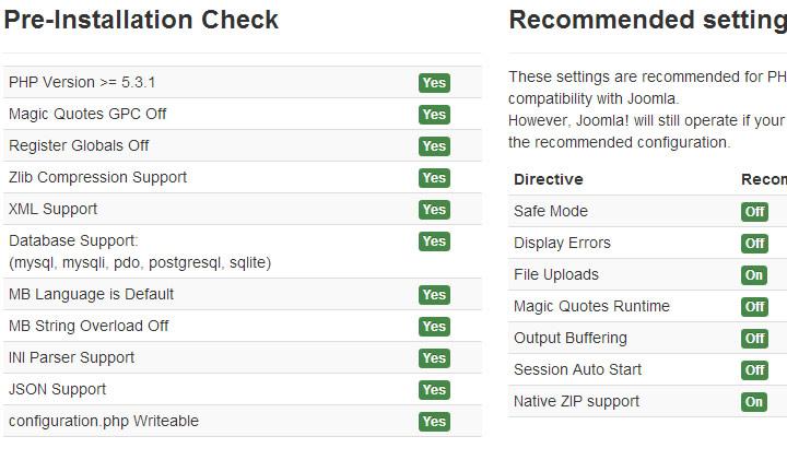Joomla pre installation check