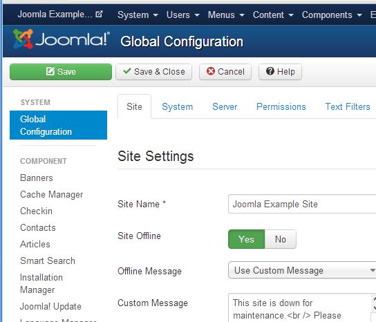joomla site offline switch