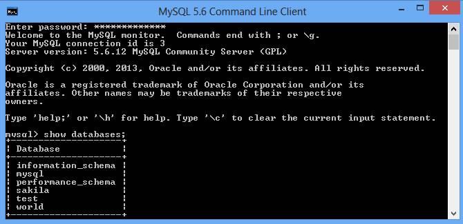 MySQL Command prompt