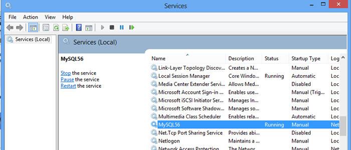 MySQL Windows Service Control Panel