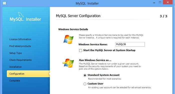 MySQL windows service