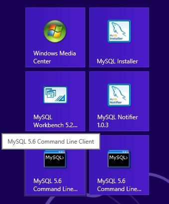 Mysql in Windows8 start page