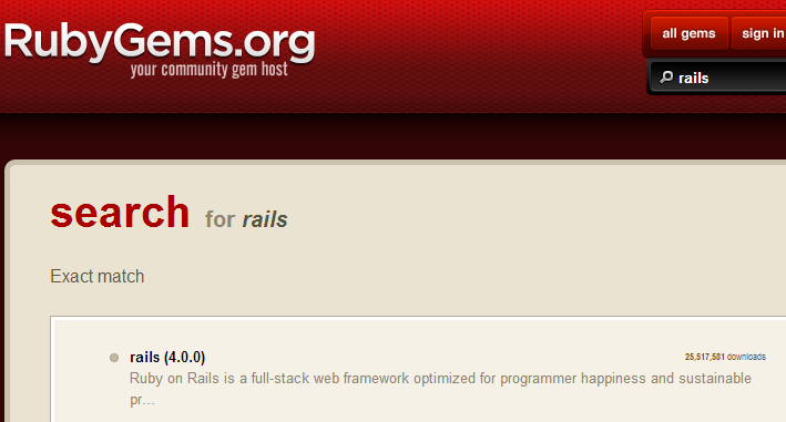 rails on rubygems