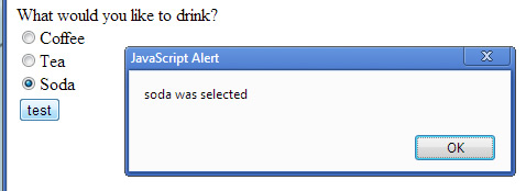 soda radio button selected