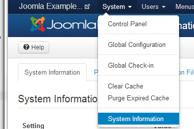 system information shows joomla version