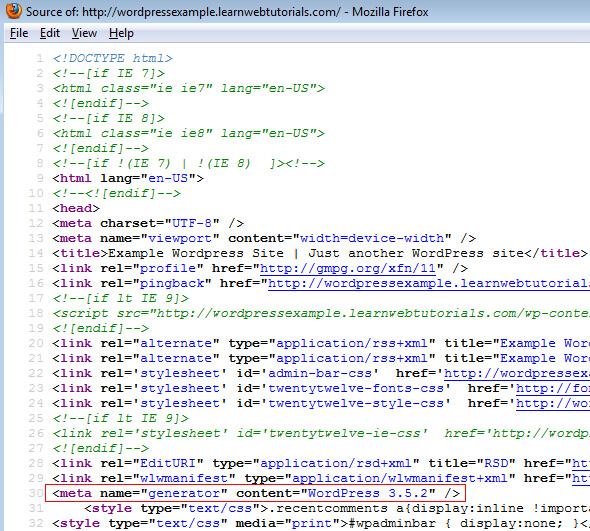 view source to determine wordpress version