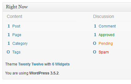 wordpress version in dashboard